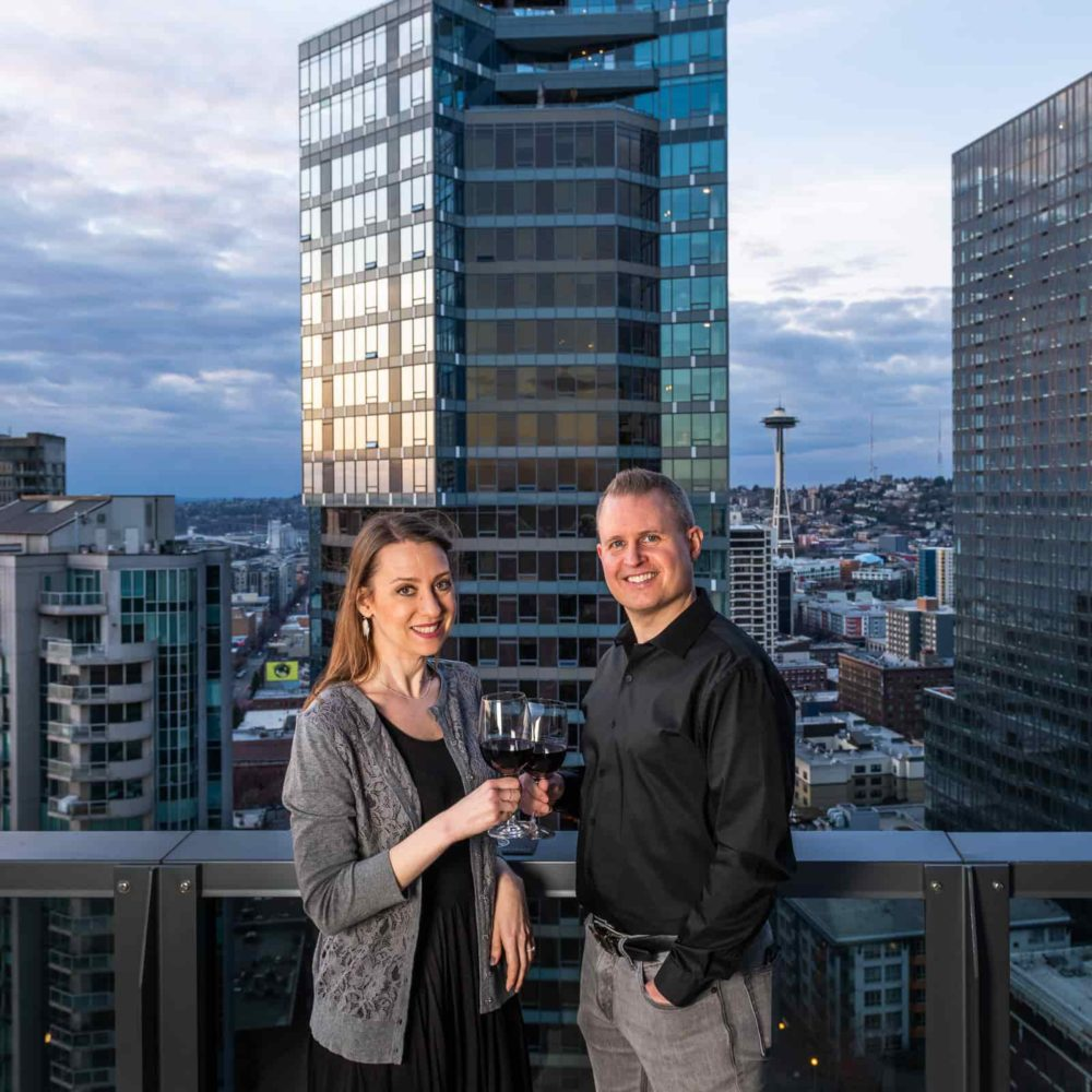 Seattle couple downtown with wine